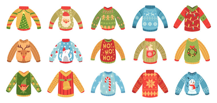 Cartoon christmas party jumpers. Xmas holidays ugly sweaters, knitted winter jumper and funny Santa sweater. Seasonal december 2020 holiday cozy clothing. Isolated vector icons set