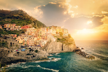 Sunset in Manarola, Cinque Terre, Italy - Colorful houses