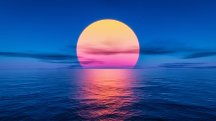 Poster de jardin Mer coucher du soleil great sunset over the ocean