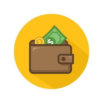 Wallet and dollar icon vector isolated on yellow circle