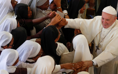 Pope Francis leads mid-morning prayer at the Monastery of the Discalced Carmelites in Antananarivo