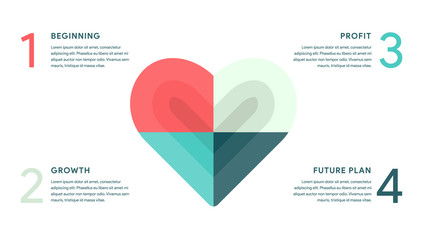 Vector Heart for Business infographics concept with 4 options, parts, steps, processes. 16x9 slide clean white template