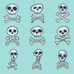 Vector Set of Cartoon Pirate Logos. Skull and Crossbones Sign on Blue Background.