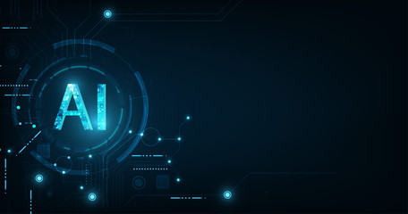 Abstract futuristic digital and technology on dark blue color background. AI(Artificial Intelligence) wording with the circuit design. Wall mural