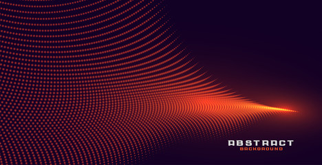 glowing abstract orange particle wave background design