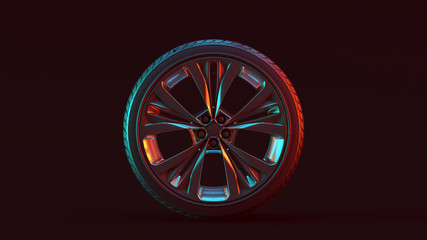 Silver Alloy Rim Wheel with 5 Detailed Flared Spokes Open Wheel Design with Racing Tyre with Red Blue Moody 80s lighting 3d illustration 3d render
