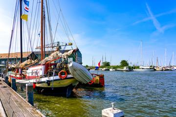 Yachts in Monnickendam marina, waterland district, Netherlands