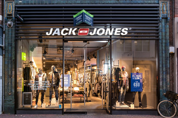 SNEEK, THE NETHERLANDS - NOVEMBER 2, 2018: Jack & Jones branch. Jack & Jones is a brand of Bestseller A/S is a privately held family-owned clothing company based in Denmark.
