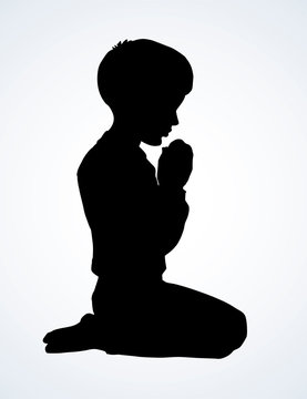 Little boy is praying. Vector drawing