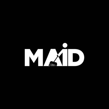 maid logo design inspiration . negative space maid logo template