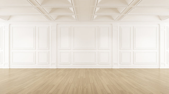 Perspective of the white empty room with wood laminate floor, Classic style of interior design. 3d rendering