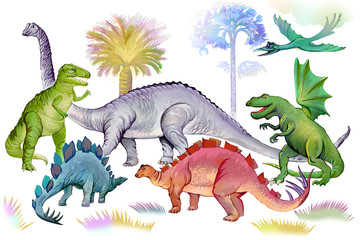 Illustration of dinosaurs in Jurassic period. World of prehistoric animals. Image of ancient imaginary extinct reptiles for kids book. Drawing made on computer by graphic tablet.