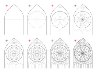 How to draw step-wise sketch of Gothic stained glass window with rose. Creation step by step pencil drawing. Educational page for school textbook for developing artistic skills. Hand-drawn vector.