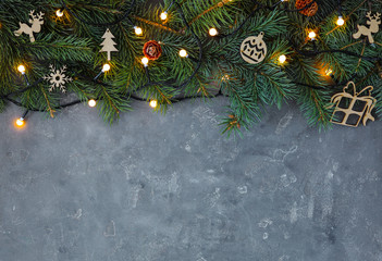 Christmas decorations on grey background, top view. Space for text