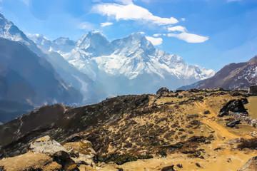 Stunning Himalaya mountains. Sagarmatha National Park in the Nepal. Watercolor style.