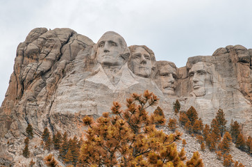 Fototapete - Amazing view of Mount Rushmore on a overcast summer day, South Dakota