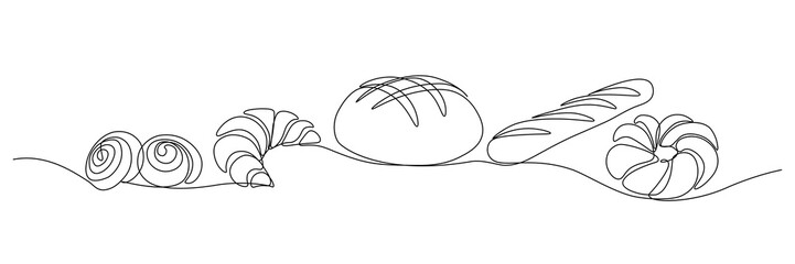 Bakery products in continuous line art drawing style. Black line sketch on white background. Vector illustration