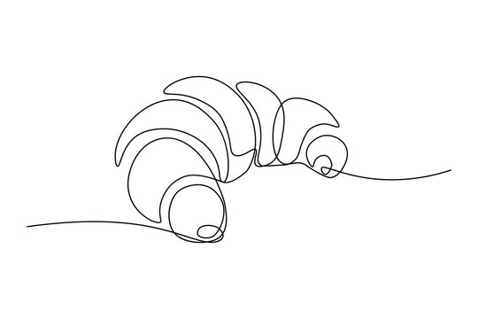 Croissant in continuous line art drawing style. Black line sketch on white background. Vector illustration