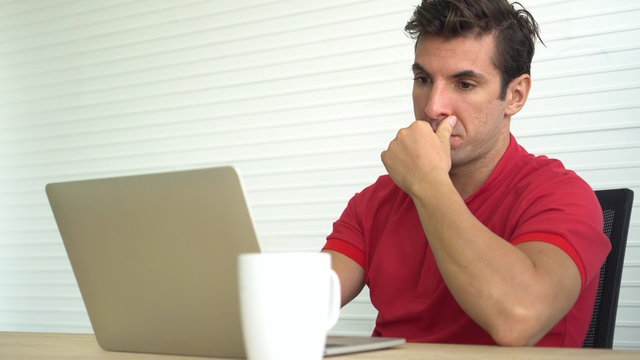 Latin Hispanic man shock with wrong decision investment result stress out