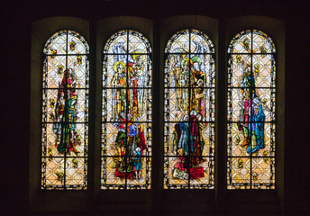 Saint-Malo, Brittany / France - 19 August 2019: detail view of stained glass windows in the cathedral of Saint Malo in Brittany in France