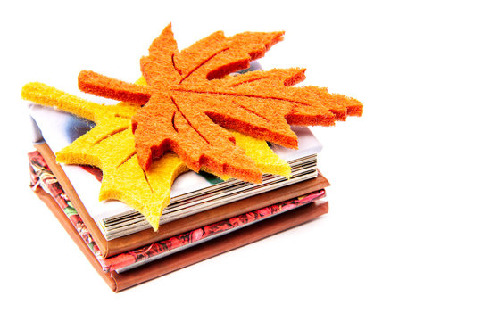 Two small paper books with yellow and orange autemn leaves isolated on white background. Education concept, close up