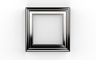 beautiful silver frame 3d illustration on white background