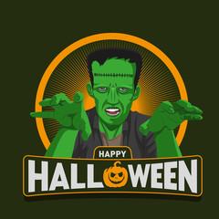 Happy halloween with frankenstein monster