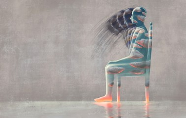 Fototapeta Cloudy man body sitting on a chair, emotion concept, hope, loneliness, depression, inside, feeling, mental health, surreal painting, fantasy art, obraz