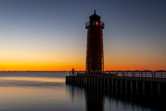 Lighthouse on Lake Michigan in Milwaukee, Wisconsin at sunrise