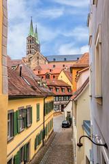 Fototapete - Historisches Bamberg mit Dom in Oberfranken, Deutschland