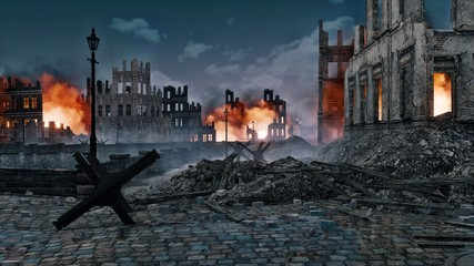 Ruined after the bombing of the World War 2 european city with burning building ruins and street barricade on foreground at night. With no people historical 3D illustration from my own rendering file.
