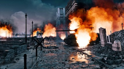 Urban battlefield scene with ruined city buildings and burning WWII tank among empty street at night. With no people historical military 3D illustration from my own 3D rendering file. Fototapete