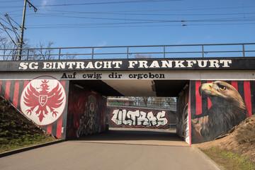 frankfurt, hesse/germany - 22 03 19: eintracht frankfurt soccer club mural in frankfurt germany