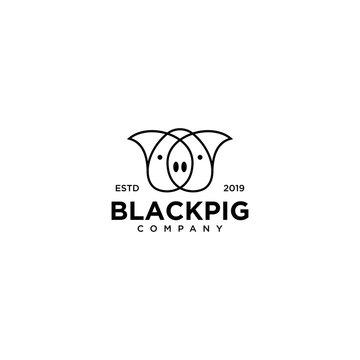 Black Pig Logo vector line outline monoline art icon