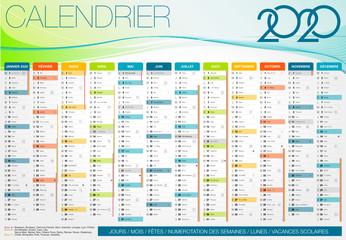 Calendrier 2020 Français JOURS / MOIS / SEMAINES / SAINT / LUNES