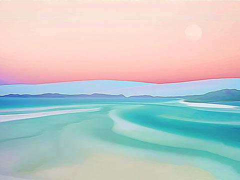 Whitehaven Beach impressions, along Whitsunday Island, Australia.