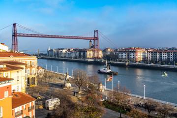 Vizcaya Bridge (Puente Colgante) is the oldest transporter bridge built in 1893 and UNESCO World Heritage Site, Portugalete, Basque Country, Spain