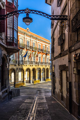 A street of Portugalete historic center leading to the town hall. Portugalete is a small town near Bilbao, Basque Country, Spain