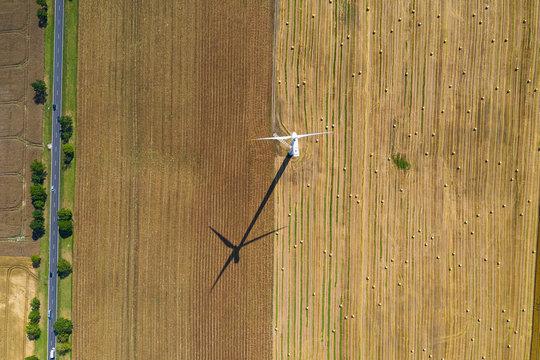 wind turbine on the arable field