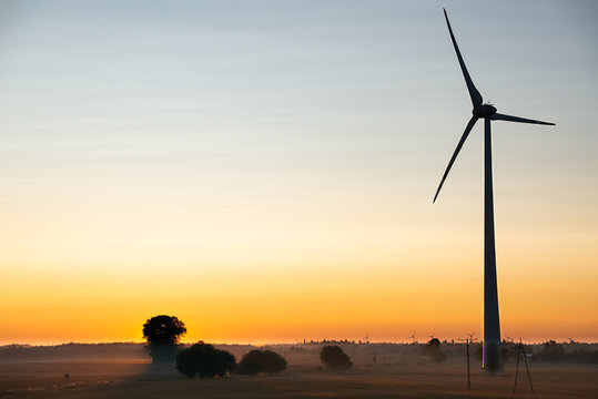 view of the wind turbine in the morning