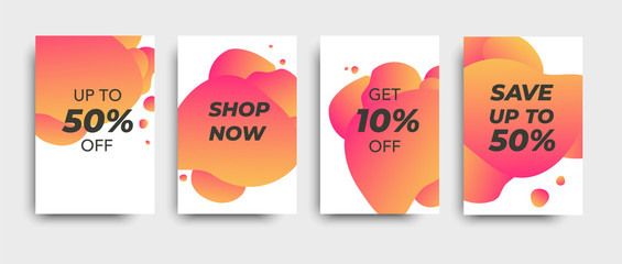 Vector sale colored brochures. Price tag. Design for online shopping.