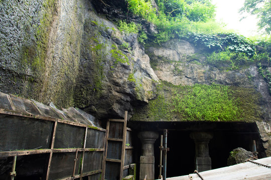 Construction and renovation in Historical Man made cave to save it from natural disaster.