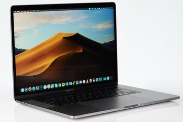 Side view of modern macbook pro