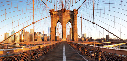 Tuinposter Ikea New York City with brooklyn bridge, Lower Manhattan, USA