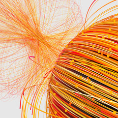 Orange twirl lines with white background, 3d rendering.