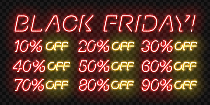 Vector set of realistic isolated neon sign of Black Friday Sale Percent logo for template decoration on the transparent background. Concept of special offer and e-commerce.