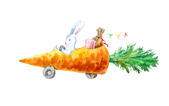 Hare on a carrot machine.Travel sketch. White background.Watercolor hand drawn illustration.