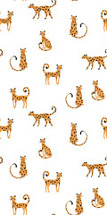 vector pattern with doodle leopards in possess on white background.