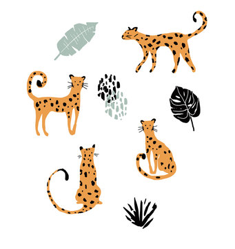 cute funny doodle leopards in various poses.Vector illustration.