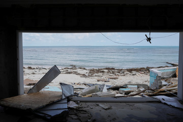 A view of the beach from a devastated house after Hurricane Dorian hit the Abaco Islands in Treasure Cay